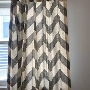 West Elm Accents - West Elm Grey & Beige Chevron Curtains